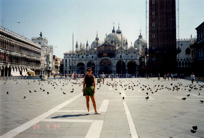 Me and the birds in St. Mark's Square, Venice.