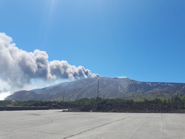 Mount Etna as she was eruption during our hike!